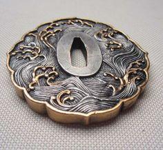 ◆Tsuba◆wave ◆ copper  brass TSUBA FOR JAPANESE SAMURAI SWORD KATANA   T-36 | Collectibles, Knives, Swords & Blades, Blade Parts, Supplies & Accs | eBay!