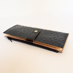 Leather Wallet Womens Wallet Ostrich Print by JPardueLeatherDesign