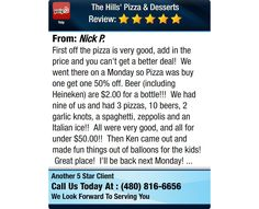 First off the pizza is very good, add in the price and you can't get a better deal! We...