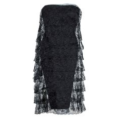 1960s Jean Louis Chantilly-Lace Black Strapless Cocktail Party Dress