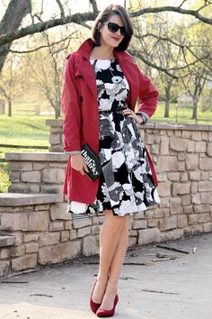 What I Wore: Colored trench, black and white dress and and matching colored shoes