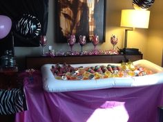 Hotel Bachelorette Party Beverage Bar Inflatable Serving Filled With Mikes Hard Lemonade Strawberitas