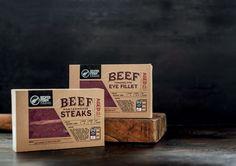 Branding and Retail Packaging for Silver Fern Farm Beef cuts Food Packaging Design, Branding Design, Packaging Ideas, Porterhouse Steak, Organic Packaging, Aged Beef, Silver Fern, Meat Shop, Organic Meat