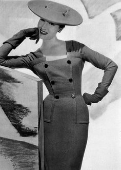 Patricia in gray supple flannel sheath by Jacques Fath, photo by Georges Saad, 1955