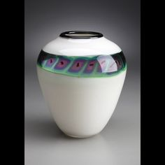 White Pot by Sunrise Glassworks. American Made. See the artist's work at the 2014 Buyers Market of American Craft, Philadelphia, PA. January 18-21, 2014. americanmadeshow.com #pot, #glasspot, #glass, #americanmade