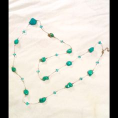 "Necklace Genuine Navajo Turquoise 26"" Drop Glass Beading Stones Range From 1/2"" - 1"" In Diameter Jewelry Necklaces"