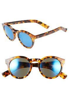 Illesteva 'Leonard II' 50mm Round Mirrored Sunglasses available at #Nordstrom