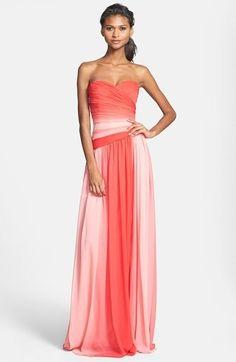 Monique Lhuillier Bridesmaids Ombré Chiffon Gown on shopstyle.com