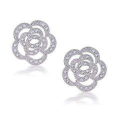 Bling Jewelry Silver Toned Pave CZ Open Rose Flower Stud Earrings