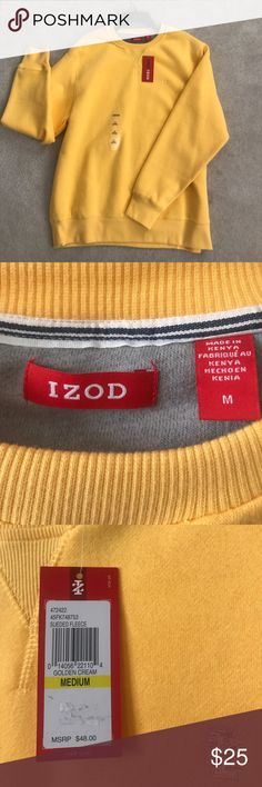 IZOD Men's Crewneck IZOD men's yellow crewneck! Or for women!! (I'd wear it) Super soft material inside a perfect gift for someone or for yourself! Never worn!!! Izod Sweaters Crewneck