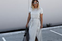 Style blogger Lisa Hamilton from See Want Shop wearing Country Road jersey wrap dress