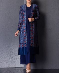 With white T-shirt and wide folded up jean capris . would look really cute Blue Suit with Long Jacket & Plazzo Indian Wedding Outfits, Pakistani Outfits, Indian Outfits, Indian Attire, Indian Wear, Kurta Designs, Blouse Designs, Ethnic Fashion, Asian Fashion