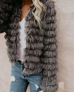 Revolution Faux Fur Jacket - Grey
