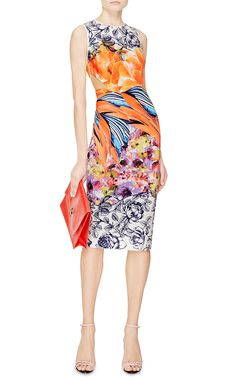 Birds Of Feather Printed Neoprene Cut-Out Dress by Clover Canyon - Moda Operandi