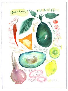Guacamole recipe Original watercolor painting This original, one of a kind is painted on fine art BFK Rives paper / 280g - acid free, 100% cotton, and measures 15 X 11 inches (38 X 28 cm). This painti