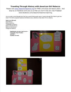 Lapbook unit study Supplement for American Girl Rebecca series