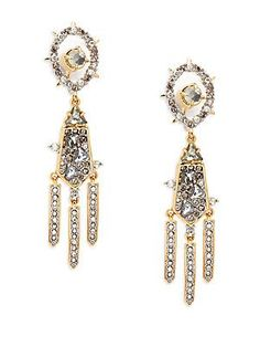 Alexis Bittar Crystal Studded Drop Earrings - Gold - Size No Size
