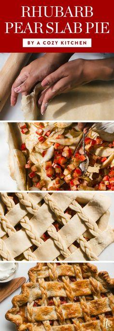 30 Easy Slab Pie Recipes to Make All Winter Long. Rhubarb Pear Slab Pie. #slabpie #pierecipes #holidaypies #holidayrecipes #desserts #holidaydesserts #dessertideas #rhubarbpie