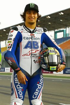 Racing suit for MotoGP racer Karel Abraham. High technologies of processing: Kangaroo leather, Twin Ferrite Protection, Design is all printed = extremely light suit!