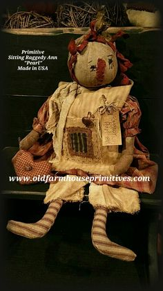 """Primitive Raggedy Ann """"earl"""" (Made In USA) Primitive Doll, Country Primitive, Colonial Home Decor, Primitive Curtains, Primitive Lighting, Raggedy Ann And Andy, Primitive Furniture, Vintage Candles, Rag Dolls"""