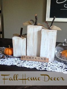 Easy DIY Halloween home decorating ideas using wood and sticks from your yard to create wooden pumpkins and home decorations for the Fall you'll love. Fall Wood Crafts, Decor Crafts, Diy And Crafts, Wooden Pumpkin Crafts, Nature Crafts, Spring Crafts, Crafts For Kids, Fall Home Decor, Autumn Home