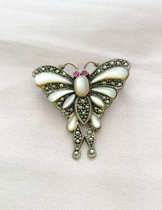 Art Deco Revival Brooch Mother of Pearl Marcasite by OurBoudoir, $48.00