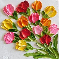 Custom Bright Tulip Oil Painting Impasto Painting x 4 up to 12 Tulip Oil Painting, 155303887190437822 Simple Oil Painting, Tulip Painting, Oil Painting Flowers, Texture Painting, Painting Frames, Hydrangea Painting, Painting Abstract, Painting Clouds, Abstract Flowers
