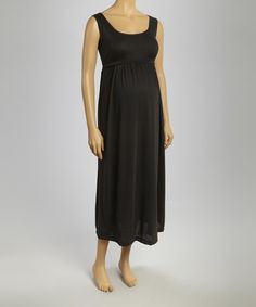 Take a look at the CT Maternity Black Maternity Empire-Waist Maxi Dress - Women on #zulily today!