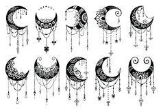 Crescent Moon Decoration Collection (Graphic) by AllmoStudio · Creative Fabrica Bild Tattoos, Body Art Tattoos, Tattoo Drawings, Sleeve Tattoos, Tatoos, Dove Tattoos, Moon Mandala, Mandala Art, Mandala Tattoo Back