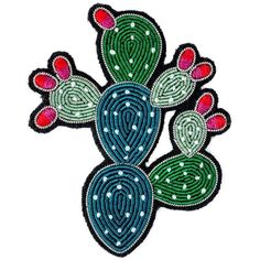 Embroidered Blooming Cactus Brooch ($52) ❤ liked on Polyvore featuring jewelry, brooches, embroidered jewelry, military fashion, military jewelry and embroidery jewelry