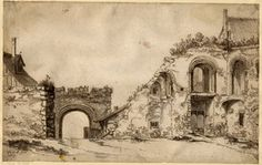 Ruins of a monastic building, perhaps at Canterbury; view towards a late Gothic arched gateway, with Norman remains on the r, a high-pitched roof beyond the wall, on the l. 1627 Pen and brown ink, with brown and grey wash
