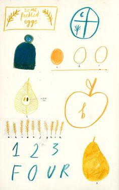 recipe book illustrations, drawing, colouring pencil, texture, food, lettering, type, colour, fruit, simple, sketchbook