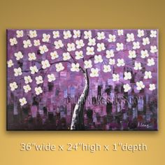 Huge Original Impressionist Palette Knife Hand Painted Oil Painting Gallery Stretched Flower. In Stock $175 from OilPaintingShops.com @Bo Yi Gallery/ ops7060
