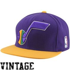 ced14aad28c Mitchell   Ness Utah Jazz Two Tone Snapback Hat - Purple Gold Color