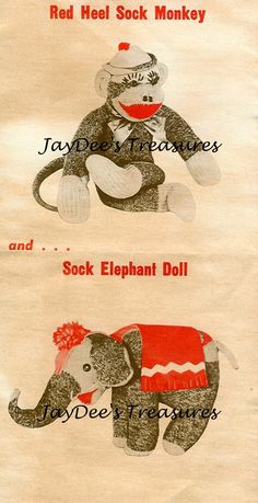 Image detail for -Sock Monkey and Sock Elephant Vintage Craft Pattern Stuffed Animals ...