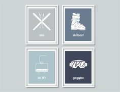 Winter Nursery Decor  Ski Nursery Winter Sports  Set by Wallerbee, $47.00