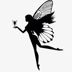 Silhouette of fairy isolated on white background royalty-free stock vector art Fairy Silhouette, Silhouette Painting, Silhouette Clip Art, Butterfly Girl, Fairy Templates, Black Fairy, Fairy Tattoo Designs, Beautiful Fairies, Tattoo Stencils