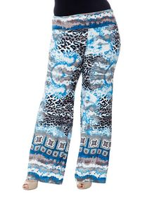 Another great find on #zulily! Sky Blue Cheetah Palazzo Pants - Plus #zulilyfinds
