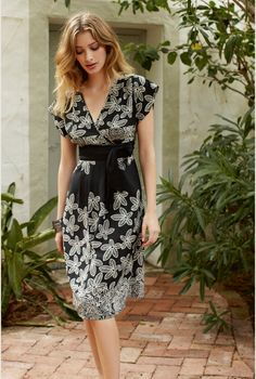 Dresses For Tall Women - Woodblock Flower Print Dress From LTS was 95 now $45