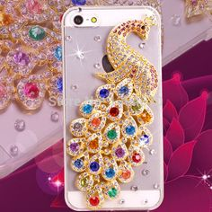 Bling Crystal Rhinestones beautiful peacock Diamond phone Case For iPhone 4S 5S 5C For Apple iPhone6 4.7inch  6 plus 5.5inch
