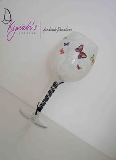 "My handmade Glass Candleholder ""Butterflies"" by Kyriaki's Atelier"