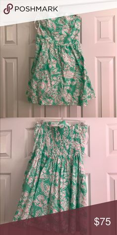 Lilly Pulitzer strapless dress Green and white printed strapless dress with pockets Lilly Pulitzer Dresses Strapless