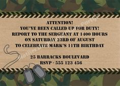 Camo Army Birthday Party Invitation