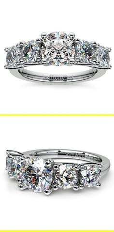 Two 1/4 carat round cut diamonds and two 1/8 carat round cut diamonds are perfectly matched and prong set in this white gold diamond engagement ring setting, accenting your choice of center diamond.