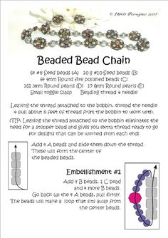 Bead Mavens: Easy Beaded Bead Chain (page 1 of 3 pages). Beaded Beads, Beads And Wire, Beaded Jewelry, Beaded Bracelets, Jewellery, Diy Jewelry, Necklaces, Beading Patterns Free, Jewelry Patterns
