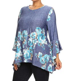 Loving this Blue Floral Bell-Sleeve Sidetail Top - Plus on #zulily! #zulilyfinds