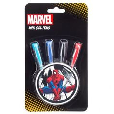 Write in style with this 4 pack of Spiderman Gel Pens. The set is packaged in an iconic webslinging Spiderman design exclusive to Poundland and includes; 1 black, 1 blue, 1 red and 1 turquoise gel pen. Gel Pens, Spiderman, Packing, Spider Man, Bag Packaging, Amazing Spiderman