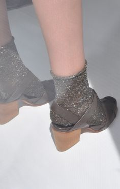 Speckles | Sparkle socks | Grey silver shine | Strap shoes chunky heels |