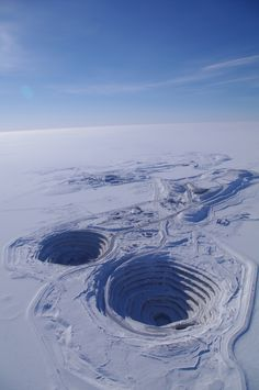 Diavik Diamond Mine on an island in the middle of Lac de Gras, Northwest Territories, Canada. Producing 8 million carats annually the site began production in What A Wonderful World, Beautiful World, Beautiful Places, O Canada, Canada Travel, Diamond Mines, Northwest Territories, Aerial Photography, North West
