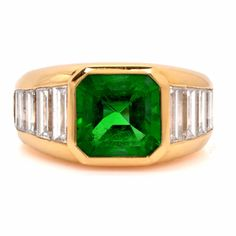 Tiffany & Co. GIA Certified 5.02ct Emerald Diamond 18K Gold Ring Item # 603301